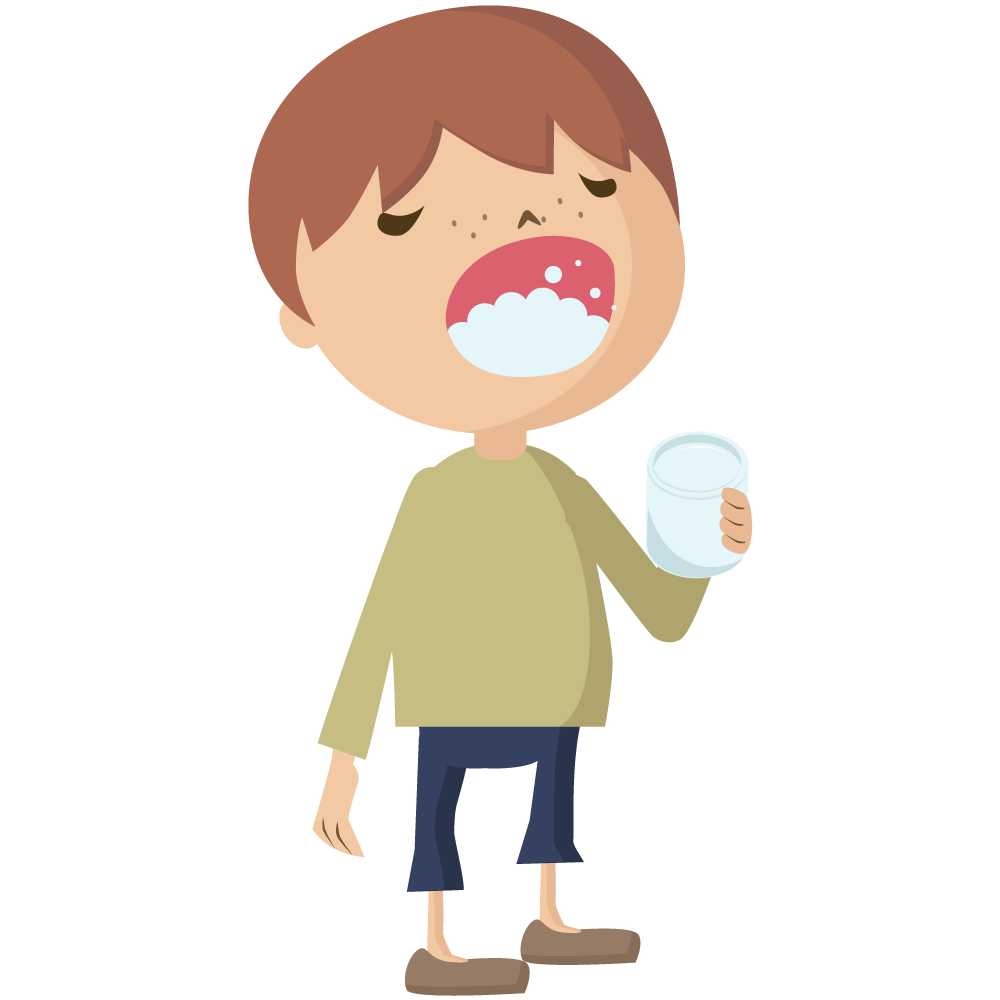コロナウイルスCOVIT-19予防でコップを持ちうがいをする男児のイラスト