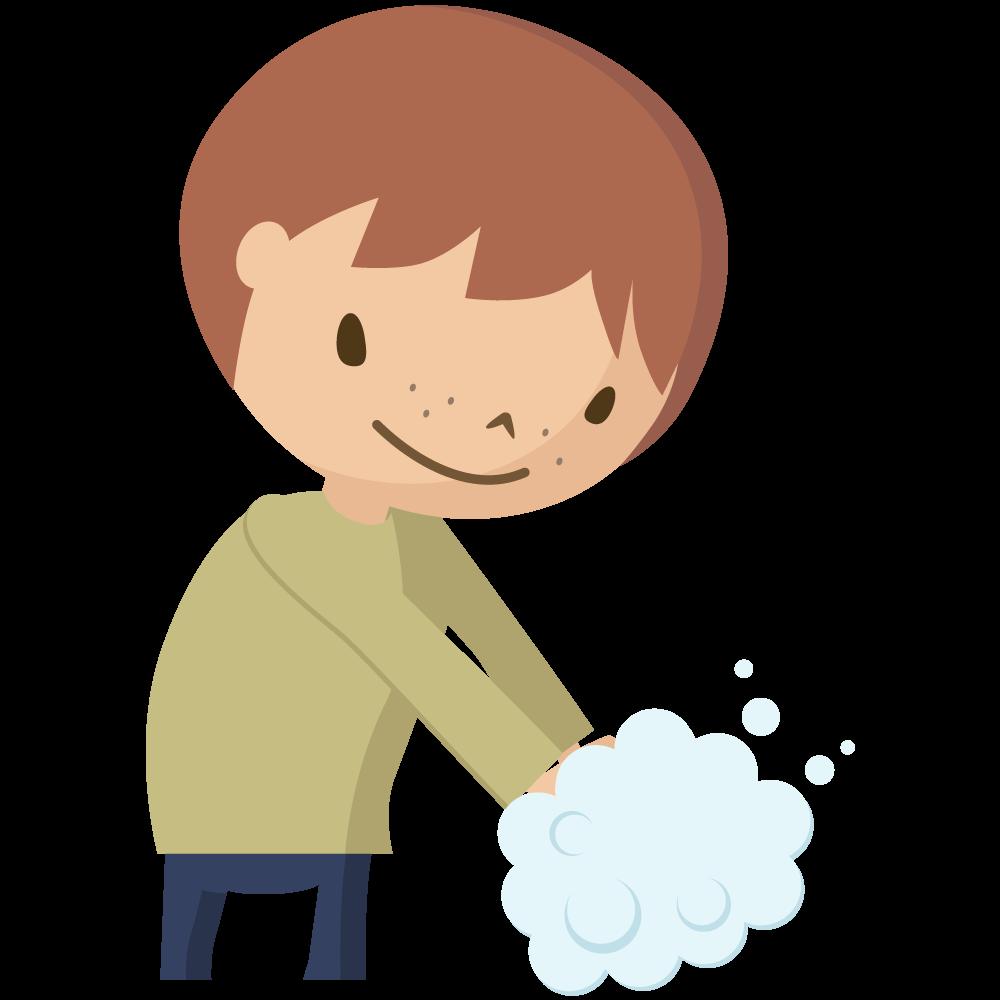 コロナウイルスCOVIT-19予防で石鹸で手洗いをする男児のイラスト