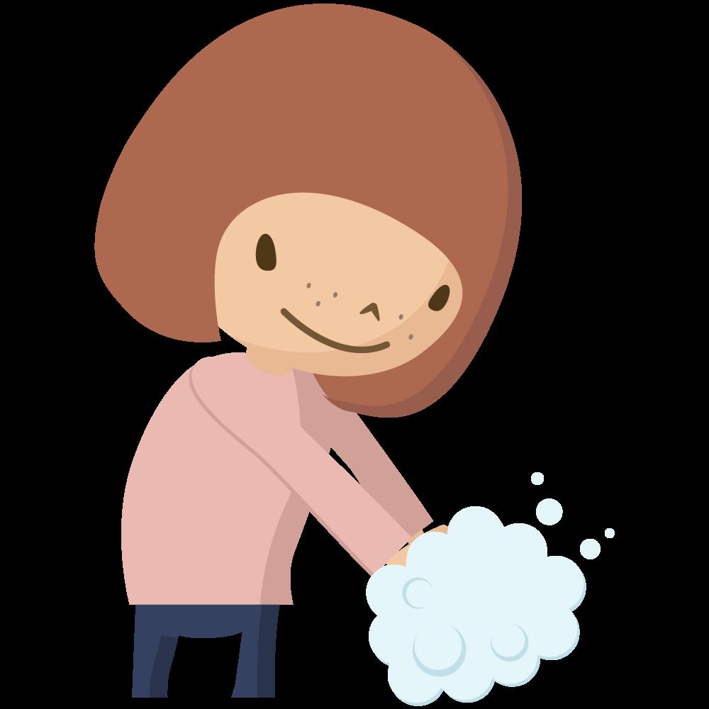 コロナウイルスCOVIT-19予防で石鹸で手洗いをする女児のイラスト