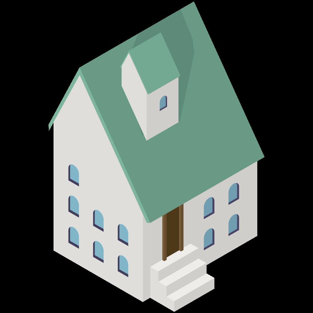 かわいいおしゃれなアイソメトリックの緑の屋根のおうちイラスト