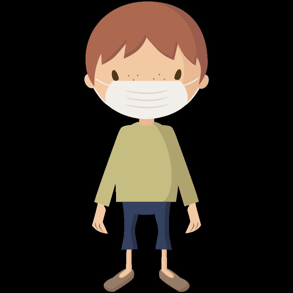 コロナウイルスCOVIT-19予防でマスクをする男児のイラスト