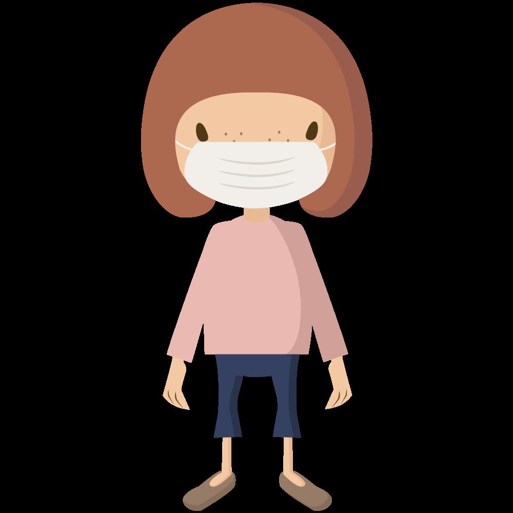 コロナウイルスCOVIT-19予防でマスクをする女児のイラスト