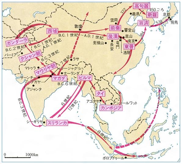 地図仏教伝来