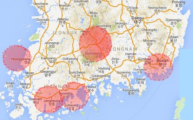 韓国南部改