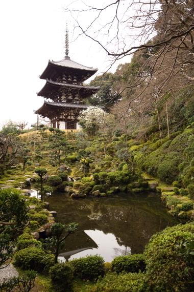 當麻寺西南院・庭園と西塔