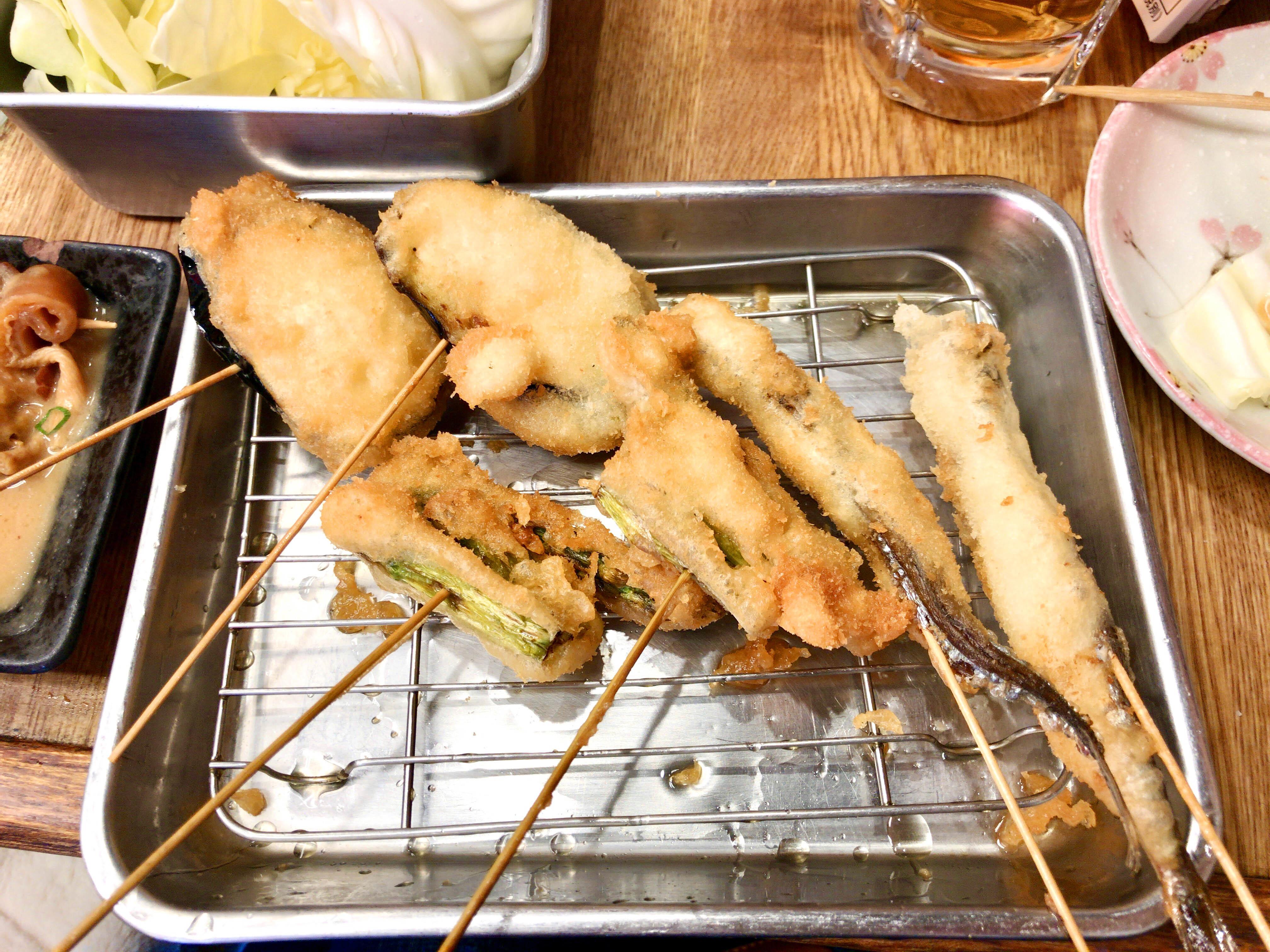 串カツ(ナスビ、アスパラ、シシャモ)