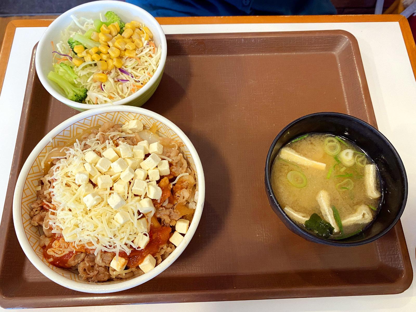 クリームチーズアラビアータ牛丼 サラダセット