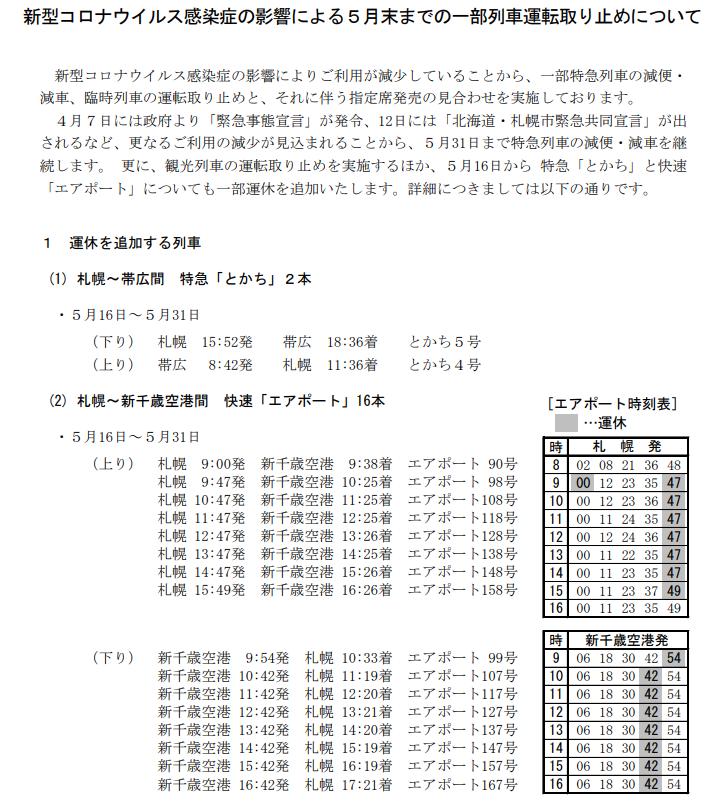 20200415コロナ減便jrhokkaido.co.jp
