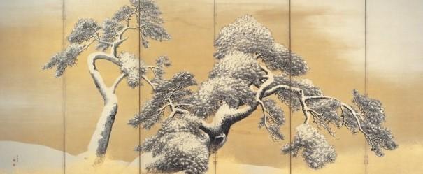 円山応挙 雪松図屏風
