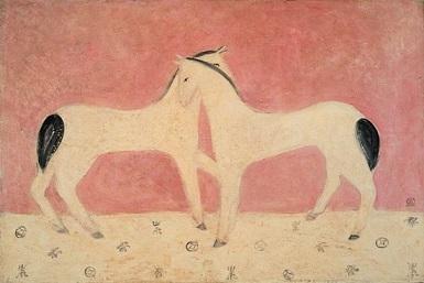 美術館 常玉1901~66 絨緞の上の二頭の馬1930