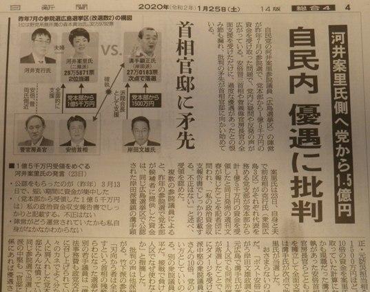 河井案里氏側へ党から15億円