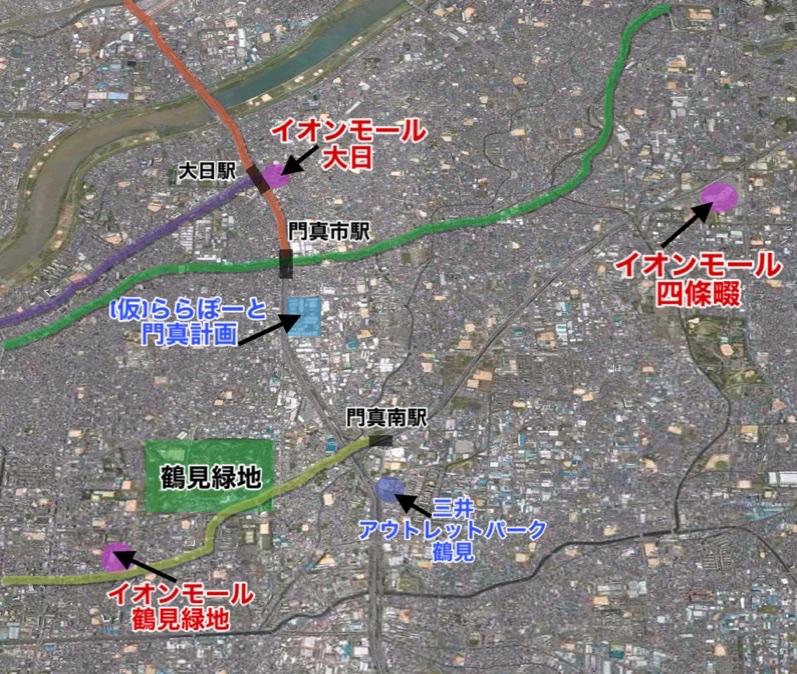 ららぽーと門真の周辺地図