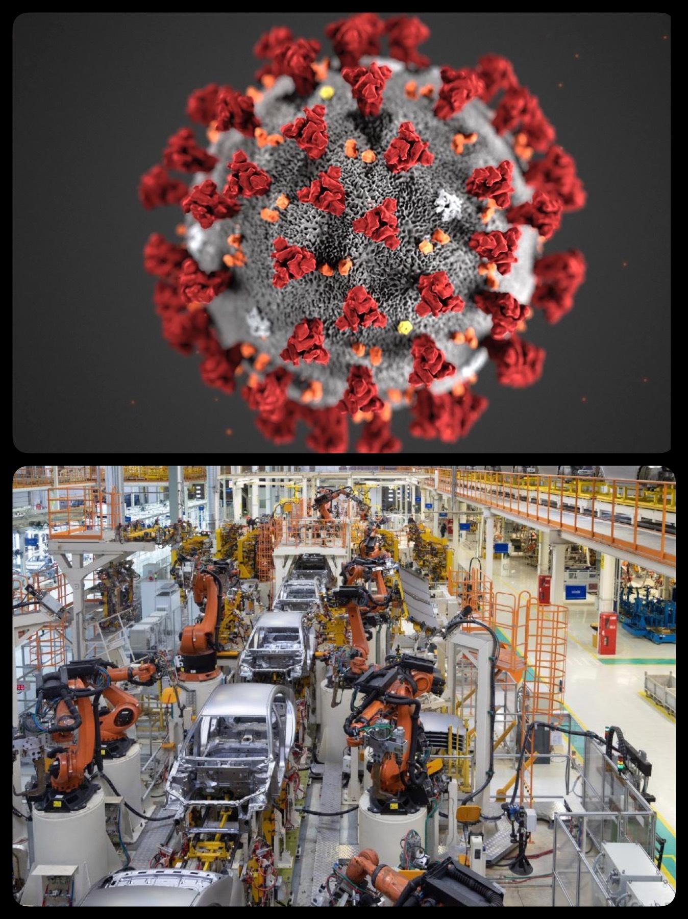 コロナウイルスで自動車工場減産