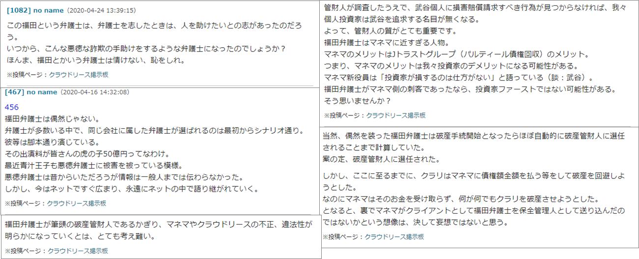 クラウドリース_福田大助弁護士に対するソーシャルレンディング投資の学校掲示板の誹謗中傷