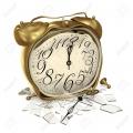 16517089-白い背景の上の壊れたガラスの壊れた目覚まし時計