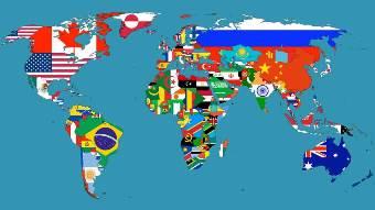 世界地図国旗