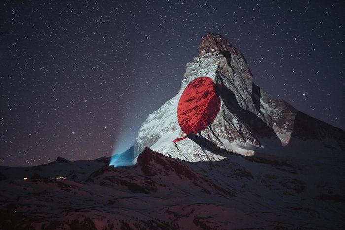 Light projections on the Matterhorn