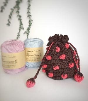 いちご編み巾着(ブラウン&ピンク)