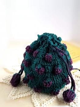 いちご編みの巾着 縦