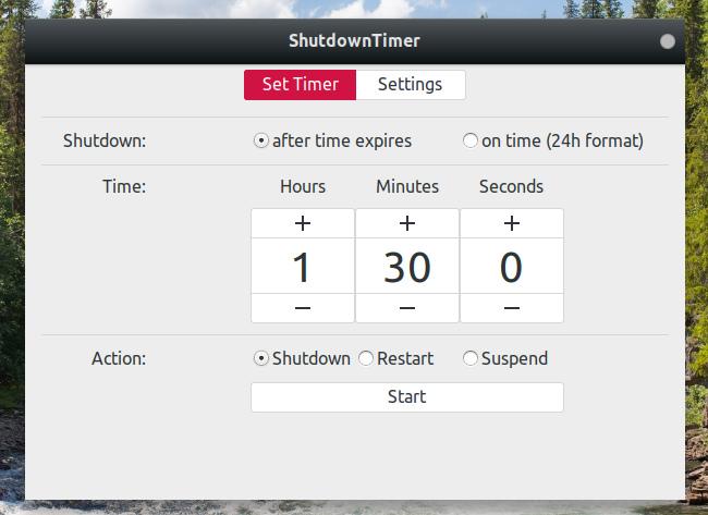 ShutdownTimer GNOME拡張機能 タイマーの設定