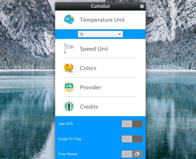 Cumulus Qt 天気アプリ オプション