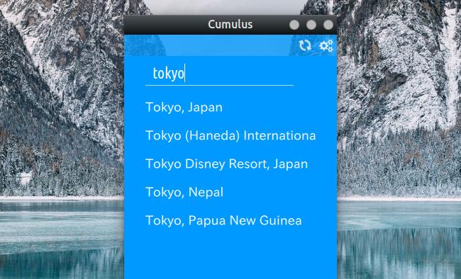 Cumulus Qt 天気アプリ 都市の検索