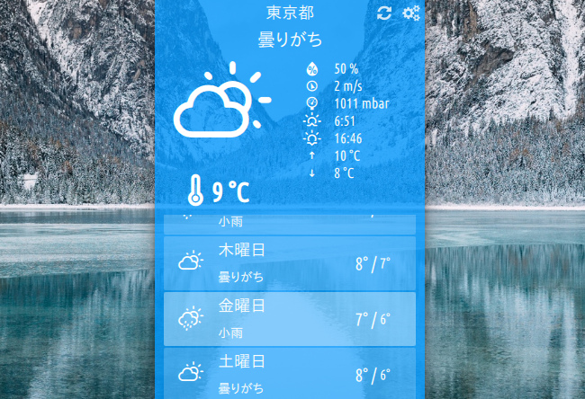 Cumulus Qt 天気アプリ 天気予報