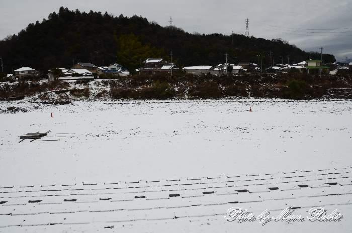 渦井川の雪景色 愛媛県西条市所藪