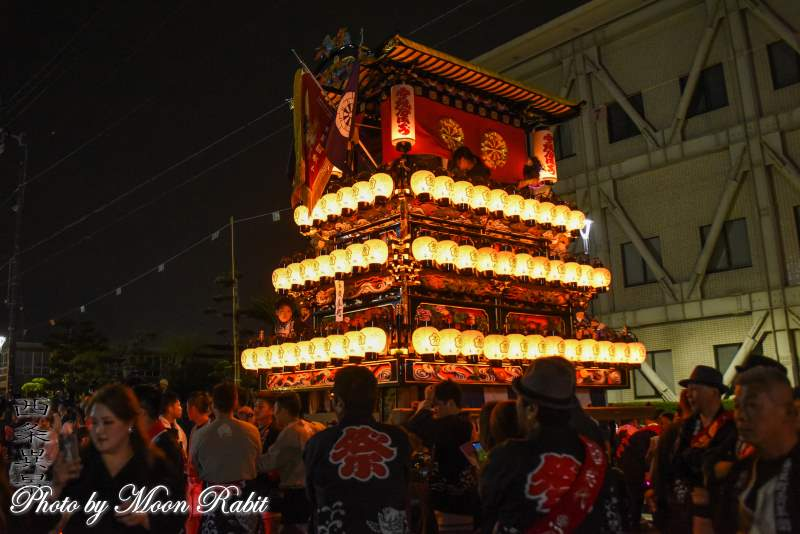 魚屋町だんじり(屋台) 下前後夜祭 御殿前 西条祭り2018 愛媛県西条市
