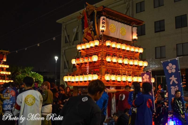 大師町だんじり(屋台) 下前後夜祭 御殿前 西条祭り2018 愛媛県西条市