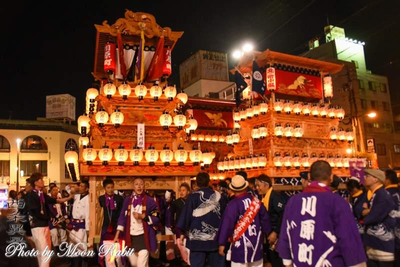 川原町だんじり(屋台) 後夜祭 西条駅前