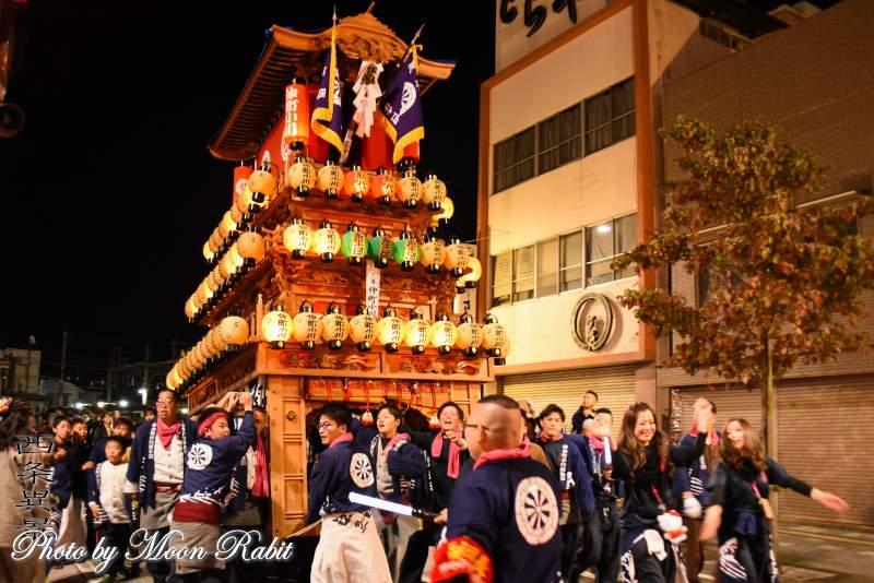 仲町小川だんじり(屋台) 後夜祭 西条駅前