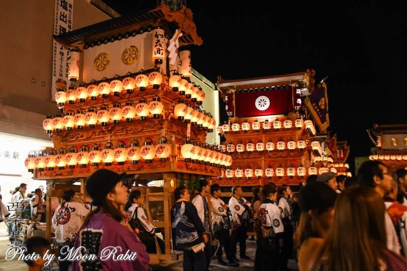 加茂町だんじり(屋台) 後夜祭 西条駅前