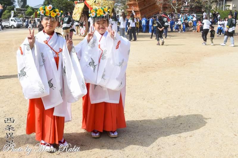 巫女さん 石岡神社祭礼本殿祭 西条祭り2019 愛媛県西条市